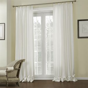 ( One Panel )  Mediterranean Embossed White Solid Pattern Rayon Energy Saving Curtains-644
