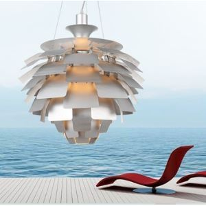 Silvery Pendant Light in Artistic Floral Lampshade