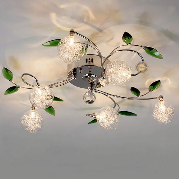 Flush Mounted Green Leaves Pattern Ceiling Light With 6 Lights
