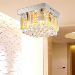 Modern Crystal Flush Mount Ceiling Light with 4 Lights