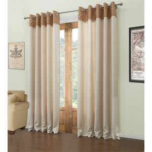 ( One Panel )  Mediterranean Jacquard Beige Polyester & Cotton Energy Saving Curtains-548