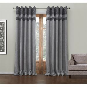 ( One Panel )  Modern Jacquard Grey Stripe Pattern Polyester & Cotton Energy Saving Curtains-549
