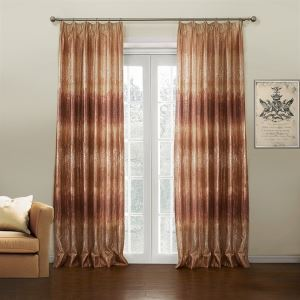 ( One Panel )  Neoclassical Jacquard Rufous Gradient Color Novelty Pattern Polyester Energy Saving Curtains-637