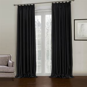 ( One Panel )  Modern Embossed Black Solid Pattern Rayon Room Darkening Curtains-645
