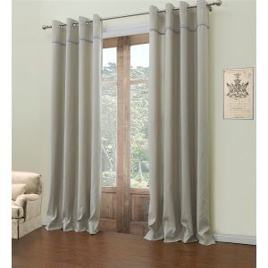 ( One Panel )  Rococo Grey & Blue Stripe Pattern Polyester Room Darkening Curtains-547