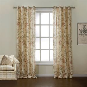 Room Darkening Curtain Beige Floral Polyester & Linen Custom Curtain - 628 ( One Panel )