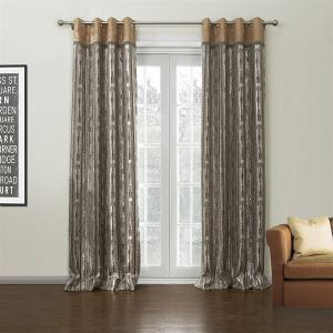 ( One Panel )  Country Jacquard Light Brown Novelty Pattern Polyester & Cotton Room Darkening Curtains-629