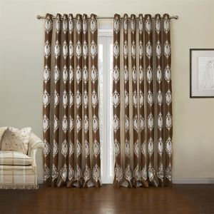 ( One Panel )  Country Jacquard Light Brown Floral Pattern Polyester & Cotton Room Darkening Curtains-632