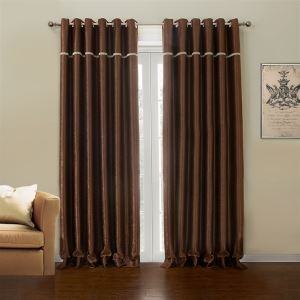 ( One Panel )  Country Dark Brown Polyester Blackout Curtains-633