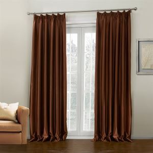 ( One Panel )  Modern Embossed Coffee Solid Pattern Polyester Room Darkening Curtains-646