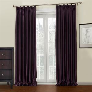 ( One Panel )  Neoclassical Embossed Purple Solid Pattern Polyester Room Darkening Curtains-647
