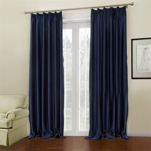 ( One Panel )  Neoclassical Embossed Blue Solid Pattern Polyester Room Darkening Curtains-648
