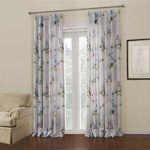 ( One Panel )  Mediterranean White Floral Pattern Polyester Room Darkening Curtains-651