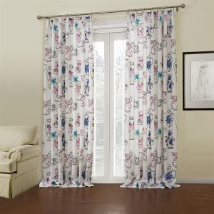 ( One Panel )  Modern White Floral Pattern Polyester Room Darkening Curtains-656