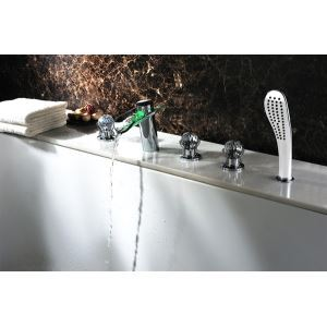 Contemporary Two Handles Color Changing LED Waterfall Glass Tub Faucet Chrome Finish