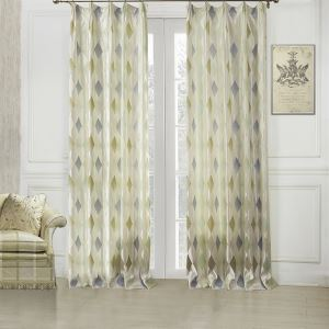 ( One Panel )  Modern Jacquard White Geometric Pattern Rayon Energy Saving Curtains-08