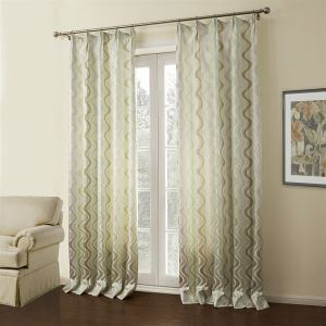 ( One Panel )  Modern Jacquard White Geometric Pattern Rayon Energy Saving Curtains-09