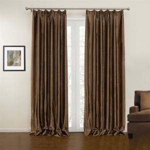 ( One Panel )  Modern Coffee Solid Pattern Polyester Blackout  Curtains-10