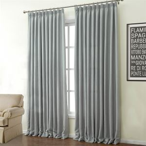 ( One Panel )  Modern Grey Solid Pattern Polyester & Cotton Energy Saving Curtains-503