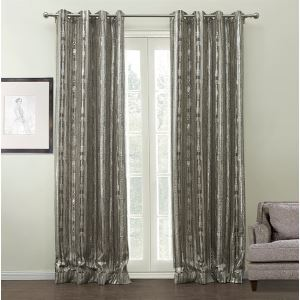 ( One Panel )  Modern Jacquard  Silver Stripe Pattern Polyester & Cotton Energy Saving Curtains-508