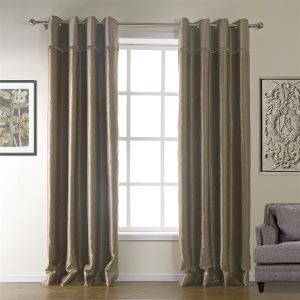 ( One Panel )  Modern Embossed Coffee Plaid Pattern Polyester Room Darkening Curtains-511