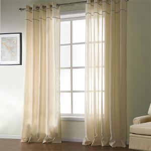 ( One Panel )  Mediterranean Yellow Sollid Pattern Cotton Sheer Curtains-524