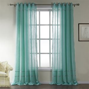 ( One Panel )  Mediterranean  Light Blue Solid Pattern Cotton Sheer Curtains-530