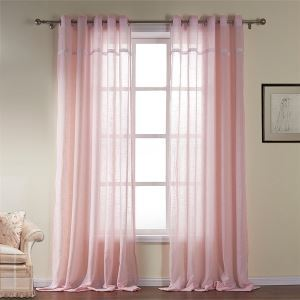 ( One Panel )  Modern Light Pink Solid Pattern Cotton Sheer Curtains-531
