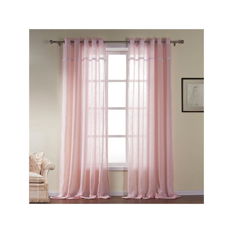 One Panel Modern Sheer Curtains Light Pink Solid Pattern Cotton Sheer Curtains 531