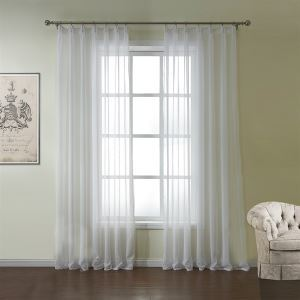( One Panel )  Medierranean Jacquard White Solid Pattern Polyester & Cotton Sheer Curtains-554