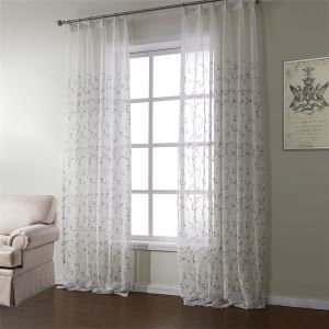 ( One Panel )  Neoclassical Embroidered White Floral Pattern Polyester Sheer Curtains-589