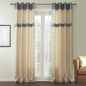 ( One Panel )  Mediterranean Jacquaard Beige Geometric Pattern Rayon Energy Saving Curtains-535