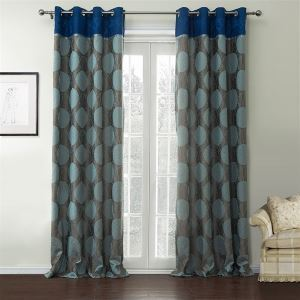 ( One Panel )  Country Jacquaard Blue & Grey Geometric Pattern Rayon Energy Saving Curtains-537