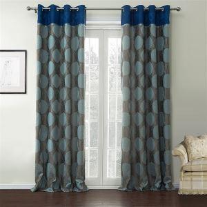 ( One Panel )  Country Jacquaard Blue & Grey Geometric Pattern Rayon Energy Saving Curtains-537