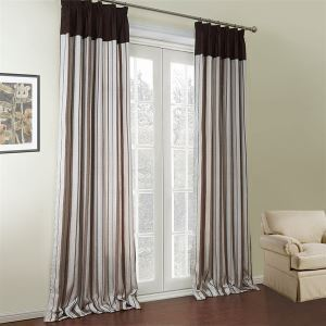 ( One Panel )  Country Jacquaard Coffee Stripe Pattern Polyester & Linen & Cotton Room Darkening Curtains-550