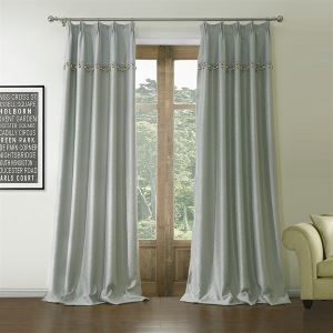( One Panel )  Neoclassical Jacquard Grey Geometric Pattern Polyester & Cotton Room Darkening Curtains-560