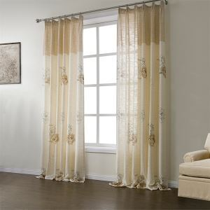 ( One Panel )  Neoclassical Print Beige Floral Pattern Polyester & Linen Energy Saving Curtains-565