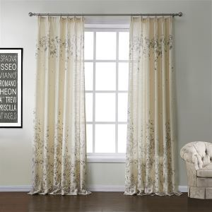 ( One Panel )  Neoclassical Print Beige Floral Pattern Polyester & Linen Energy Saving Curtains-572