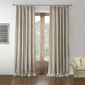 Energy Saving Curtain Modern Jacquard Beige Stripe Custom Curtian - 574 ( One Panel )