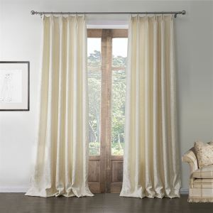 ( One Panel )  Mediterranean Jacquard Beige Geometirc Pattern Polyester Room Darkening Curtains-576