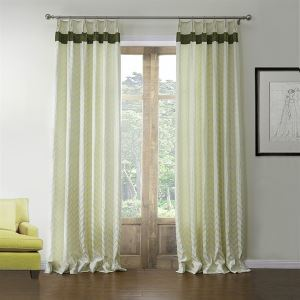 ( One Panel )  Mediterranean Jacquard Beige Geometirc Pattern Floss Room Darkening Curtains-577