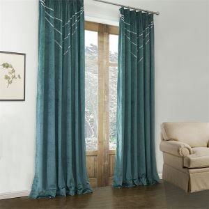 ( One Panel )  Modern Dark Green Geometric Pattern Polyester & Cotton Blackout Curtains-582