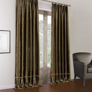 ( One Panel )  Modern Dark Coffee Solid Pattern Polyester & Cotton Room Darkening Curtains-583