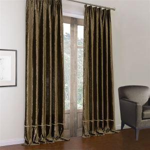 ( One Panel )  Modern Dark Coffee Solid Pattern Polyester & Cotton Room Darkening Curtains-583