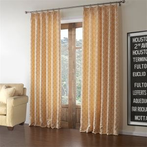 ( One Panel )  Country Jacquard Orange Geometric Pattern Polyester & Cotton Room Darkening Curtains-588