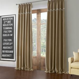 Modern Balckout Curtain Light Gold Solid Polyester & Cotton Window Treatment - 595 ( One Panel )