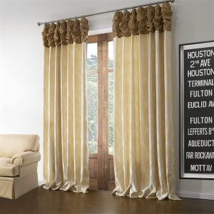 ( One Panel )  Neoclassical Jacquard Beige Floral Pattern Polyester & Linen Room Darkening Curtains-600