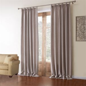 ( One Panel )  Modern Jacquard Grey Geometric Pattern Polyester & Linen Room Darkening Curtains-601