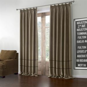 ( One Panel )  Modern Light Brown Solid Pattern Polyester & Cotton Blackout Curtains-602