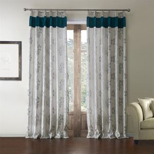 ( One Panel )  Country Jacquard Grey Floral Pattern Polyester Energy Saving Curtains-610